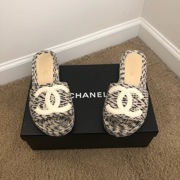 CHANEL Shoes | Chanel Tweed Slide On